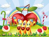 Tři příšery na vrcholku kopce poblíž apple domy