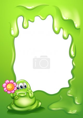 A green monster with a flower in front of an empty template
