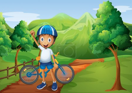 A boy standing in the pathway with his bike