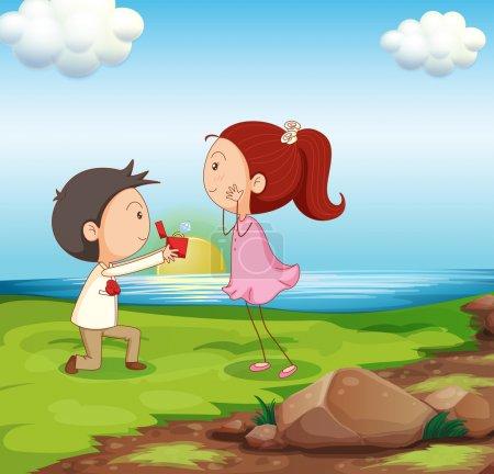 un garçon fait une proposition de mariage au bord de l'eau