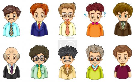 Illustration for Illustration of the different faces of businessmen on a white background - Royalty Free Image