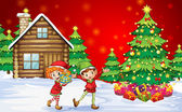 Two playful dwarves near the christmas trees