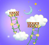 Illustration of the two plant ladders going to the sky