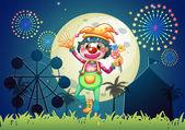 A clown at the amusement park