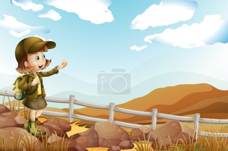 Illustration of a female explorer at the rocky are...