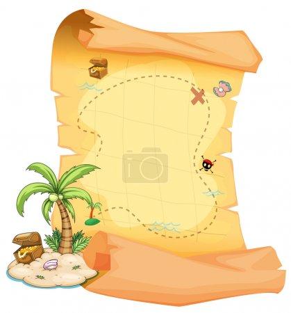 A big treasure map and an island