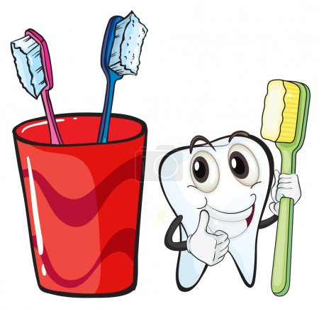 A tooth holding a toothbrush beside the glass
