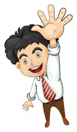 Illustration for Illustration of a businessman waving on a white background - Royalty Free Image