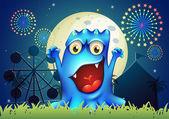 šťastné modré monstrum zábavního parku