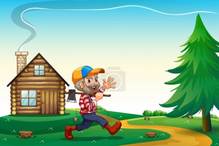 A happy lumberjack carrying an axe while walking near the wooden
