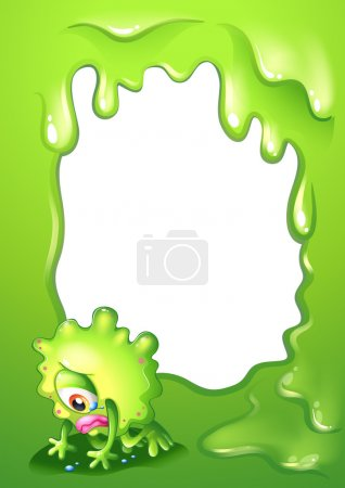 A green border template with a monster crying