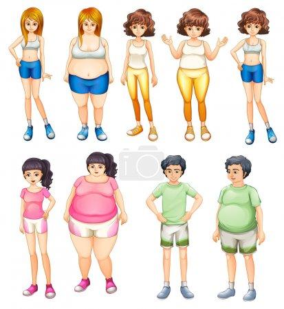 Illustration pour Illustration du peuple gras et maigre, sur fond blanc - image libre de droit