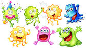 Illustration of the happy monsters on a white background