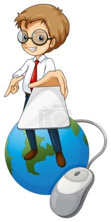 Illustration pour Illustration d'un homme se tenant au-dessus du globe, tenant un téléphone portable sur un fond blanc - image libre de droit