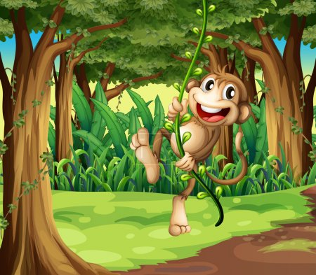 A monkey playing with the vine trees in the middle of the forest