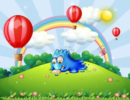 Illustration for Illustration of a monster writing at the hilltop with floating balloons - Royalty Free Image