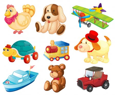 Illustration pour Illustration des différents jouets sur un fond blanc - image libre de droit