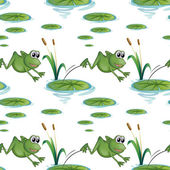 Seamless design with frogs at the pond