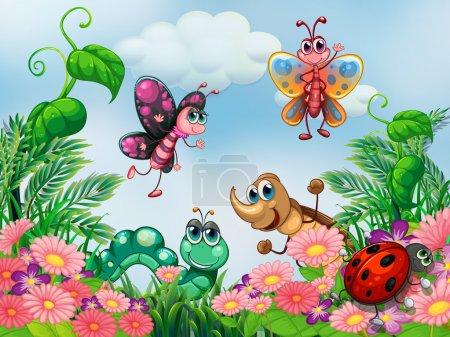 Illustration pour Illustration d'un jardin avec des insectes - image libre de droit