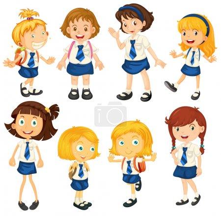 Eight schoolgirls in their uniforms