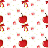 A seamless template with apples candy balls and ribbons