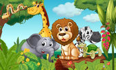 """Постер, картина, фотообои """"лес с группой животных"""""""