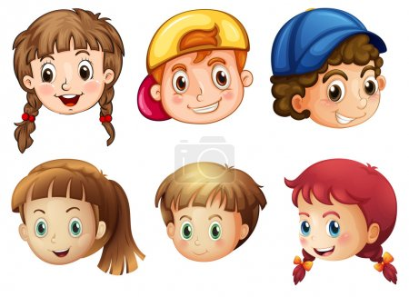 Illustration for Illustration of the six different faces on a white background - Royalty Free Image