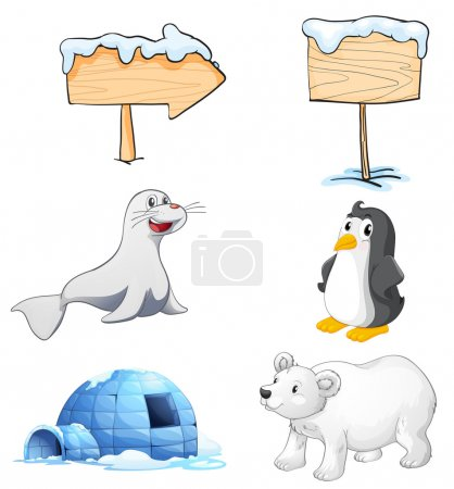 Illustration of the signboards, animals and an igl...