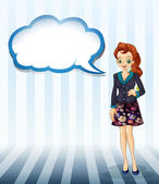 An office girl with an empty cloud template