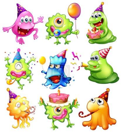 Illustration pour Illustration d'un joyeux monstre célébrant un anniversaire sur fond blanc - image libre de droit