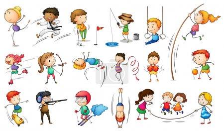 Illustration pour Illustration des enfants pratiquant différents sports sur fond blanc - image libre de droit