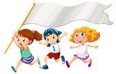 Three kids running with an empty banner