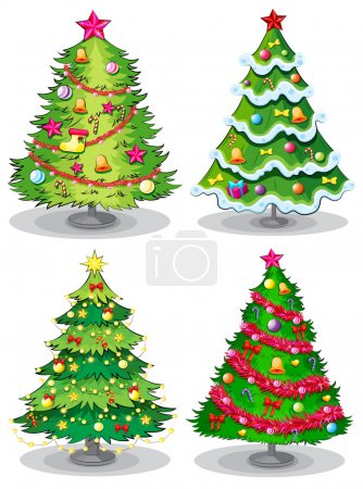 Four decorated christmas trees