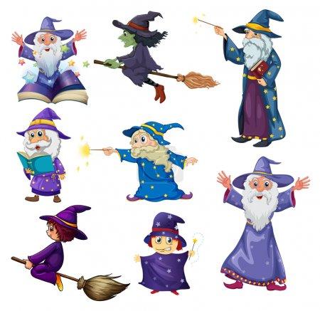 Illustration pour Illustration d'un groupe de sorciers sur fond blanc - image libre de droit