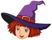 A smiling witch with a purple hat