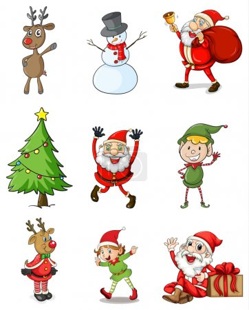 Illustration for Illustration of the nine christmas designs on a white background - Royalty Free Image