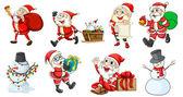 Santa Claus and the snowmen