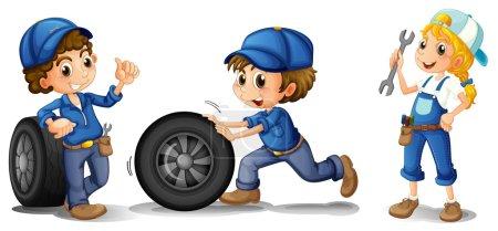 Illustration pour Illustration des deux mécaniciens masculins et d'une mécanicienne sur fond blanc - image libre de droit