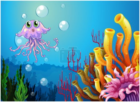 An octopus and the coral reefs under the sea