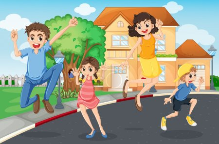Illustration of a happy family jumping in the stre...