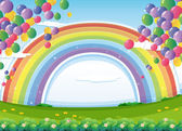 Illustration of a sky with a rainbow and colorful floating balloons