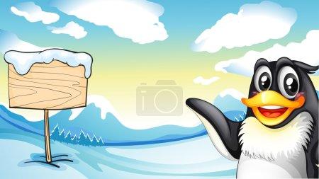 Illustration pour Illustration d'un pingouin sur la planche de bois vide - image libre de droit