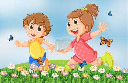 Illustration for Illustration of the kids playing happily at the garden in the hilltop - Royalty Free Image