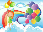 Illustration of a young girl at the sky with balloons and rainbow