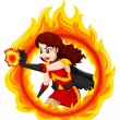 Illustration of a flaming female superhero on a wh...