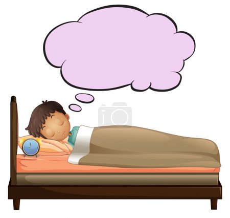 Illustration for Illustration of a young boy with an empty thought while sleeping on a white background - Royalty Free Image
