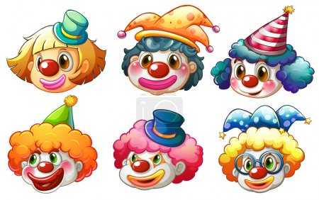 Illustration for Illustration of the different faces of a clown on a white background - Royalty Free Image