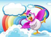Pták na obloze poblíž rainbow s prázdný popisek