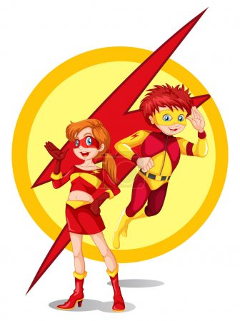 A male and a female superhero