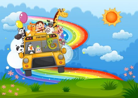 Illustration for Illustration of a zoo bus at the hilltop with a rainbow in the sky - Royalty Free Image
